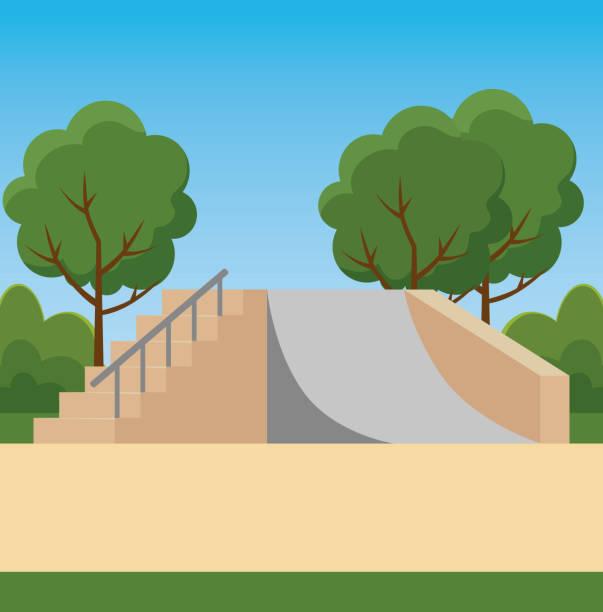 bildbanksillustrationer, clip art samt tecknat material och ikoner med park med skateboard ramper och träd med buskar växter - skatepark