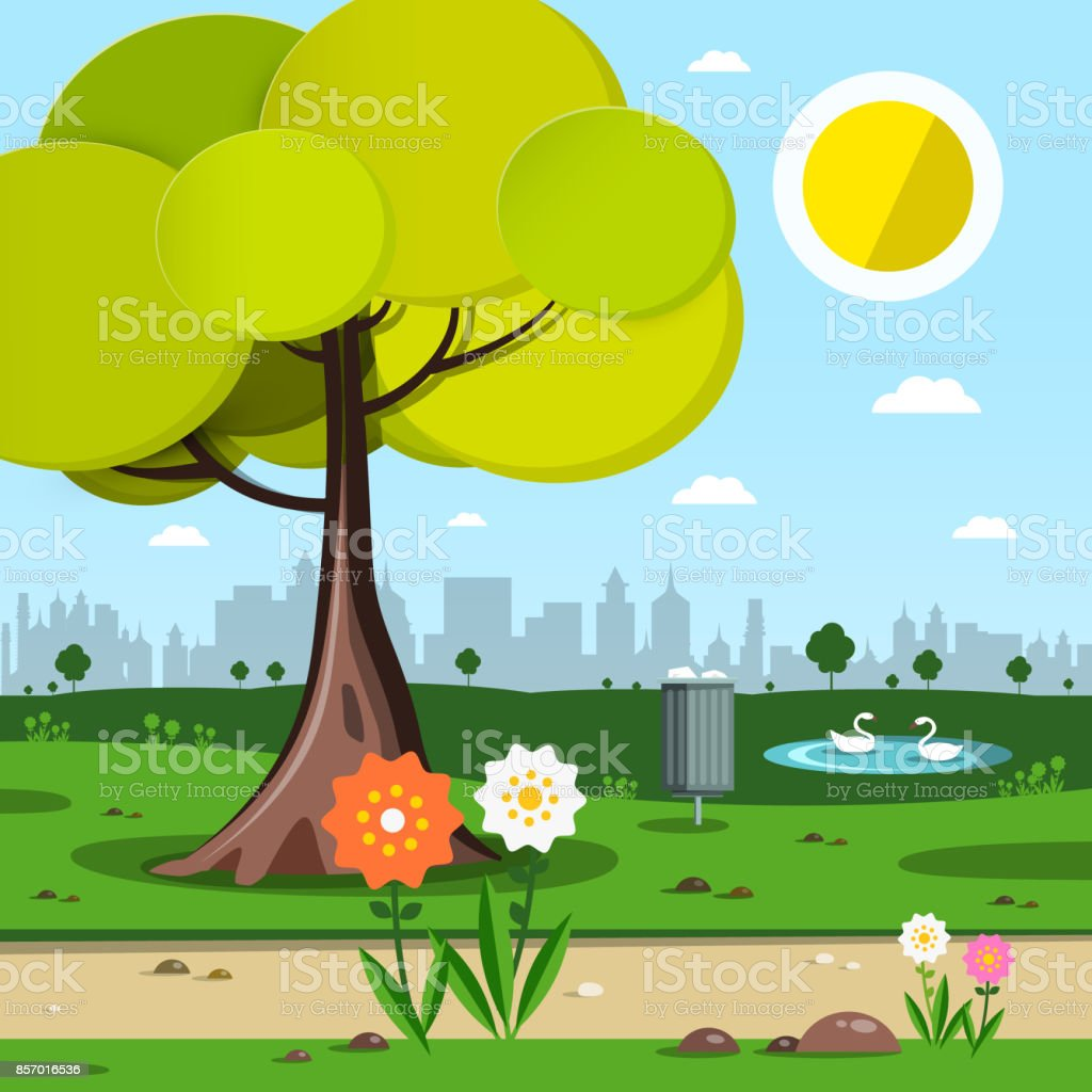 Park with Tree and Flowers vector art illustration
