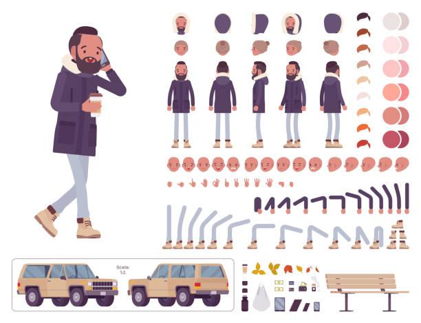 illustrazioni stock, clip art, cartoni animati e icone di tendenza di parka man construction set - car chill