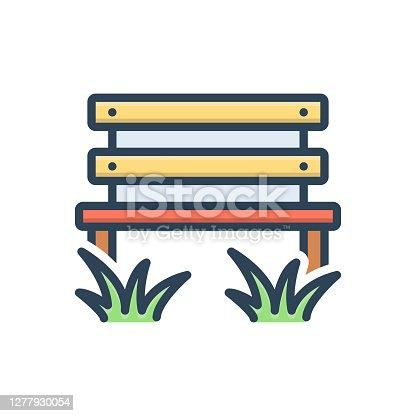 Icon for parkbench, park, bench, grass, garden, autumn, gree