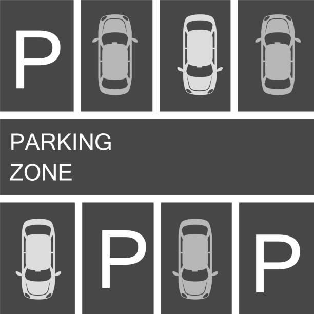 illustrations, cliparts, dessins animés et icônes de voitures stationnées dans une zone de stationnement sur fond sombre d'asphalte. illustration vectorielle stock - gare