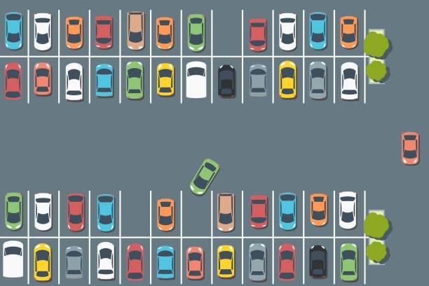 illustrations, cliparts, dessins animés et icônes de voitures stationnées - gare