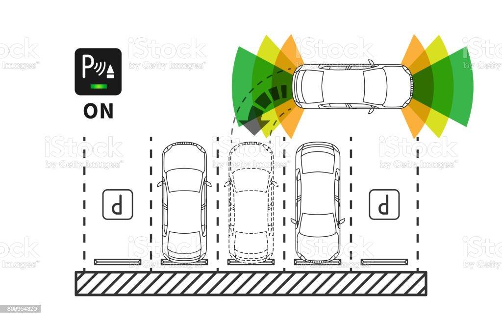 Parking assist system vector illustration vector art illustration