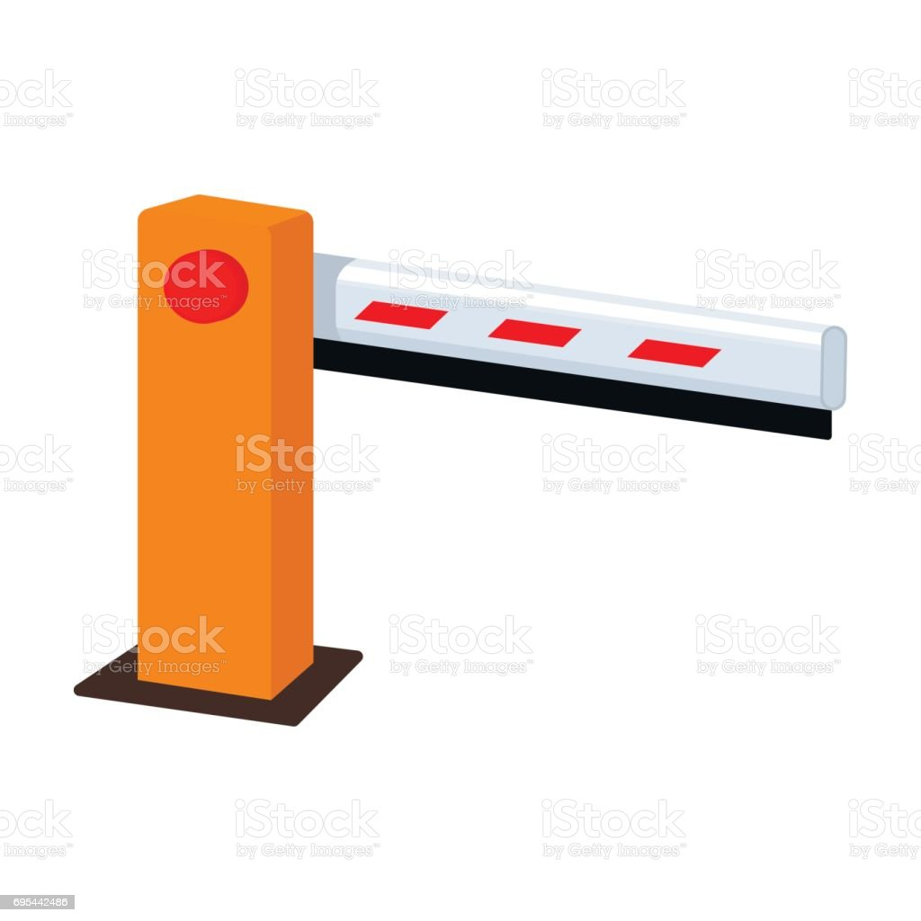 Parking Barrier Icon In Cartoon Style Isolated On White