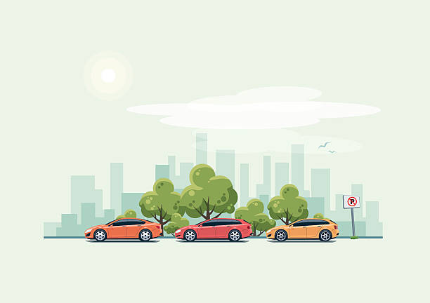parking cars and city background with green trees - street fashion stock-grafiken, -clipart, -cartoons und -symbole