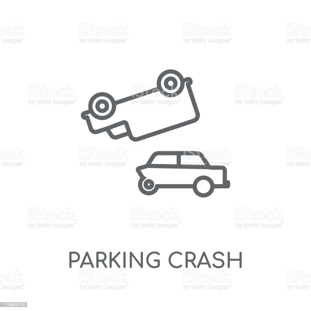 Parking Crash Linear Icon Modern Outline Parking Crash Logo Concept