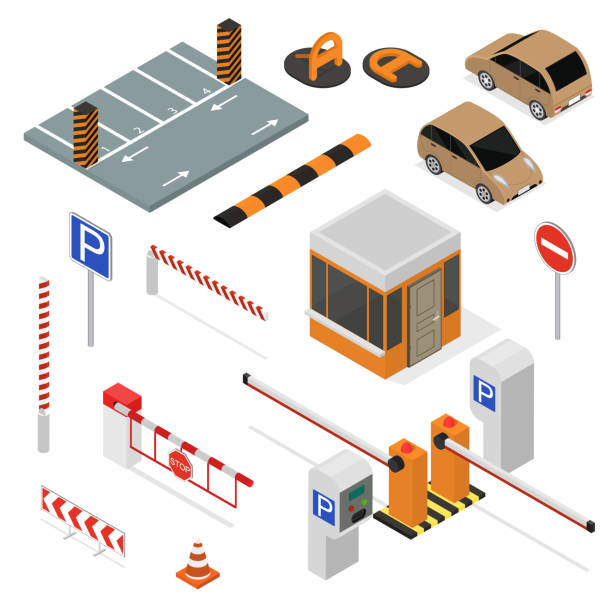 Parking Elements Concept 3d Icon Set Isometric View. Vector Parking Elements Concept 3d Icon Set Isometric View Include of Car, Sign, Place and Barrier. Vector illustration of Icons gate stock illustrations