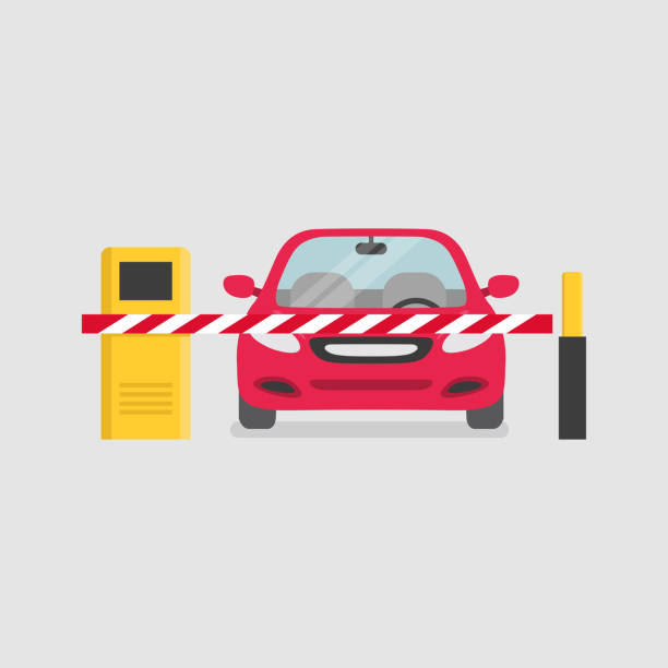 Parking entrance with security barrier gate and parking ticket machine. Parking entrance with security barrier gate and parking ticket machine. gate stock illustrations