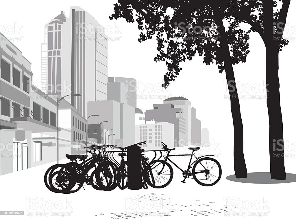 Parking For Bicycles vector art illustration