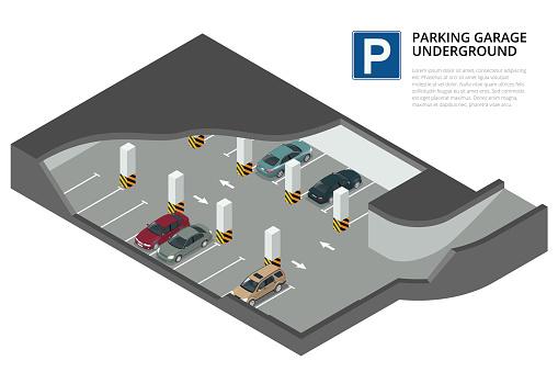 Parking garage underground. Indoor car park