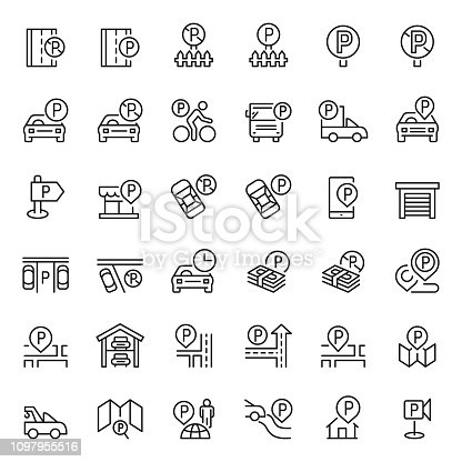 Parking icon set