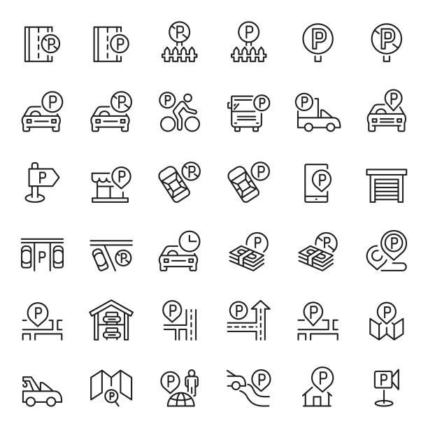 illustrations, cliparts, dessins animés et icônes de jeu d'icônes de stationnement - gare