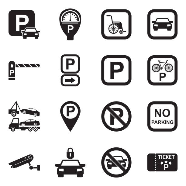 parking icons. black flat design. vector illustration. - signs and symbols stock illustrations