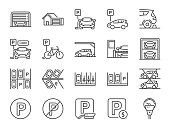 Parking line icon set. Included icons as Garage, Valet servant, Paid parking, recorder, lift, security camera and more.