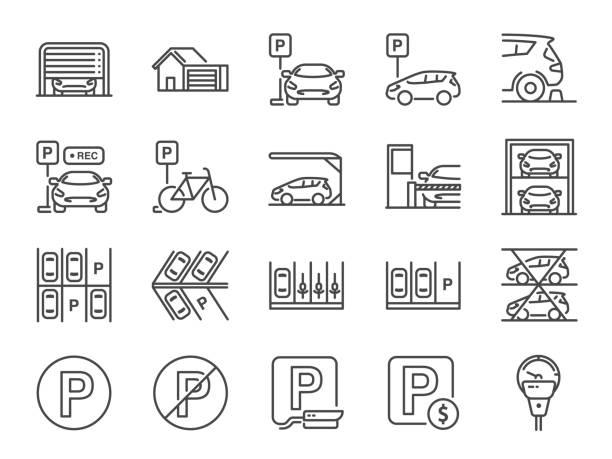 illustrations, cliparts, dessins animés et icônes de ensemble d'icônes de ligne de stationnement. icônes incluses comme garage, valet serviteur, stationnement payant, enregistreur, ascenseur, caméra de sécurité et plus encore. - gare