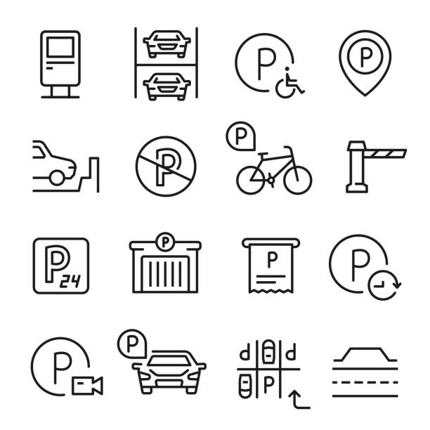 stockillustraties, clipart, cartoons en iconen met parkeer lijn icon set, plaats om een voertuig te verlaten - parking
