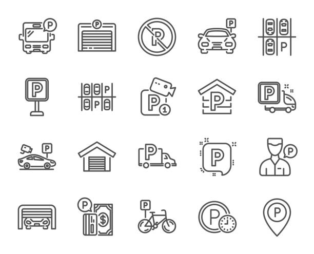 illustrations, cliparts, dessins animés et icônes de icônes de ligne de stationnement. ensemble de garage, serviteur de valet et d'un parking payant. vector - gare