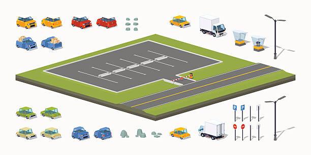 stockillustraties, clipart, cartoons en iconen met parking lot constructor - parking