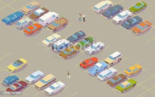 32 retro cars are seen in a colorful isometric parking lot. Generic vehicles evoke colors and styling of cars and trucks commonly seen in the late 1970s in North America, while a few people can be seen walking across the pavement.