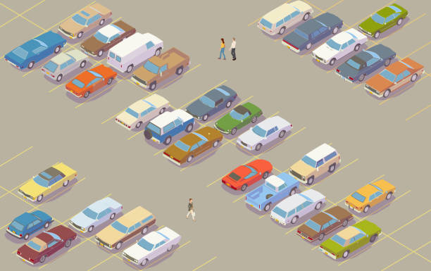 Parking lot illustration vector art illustration