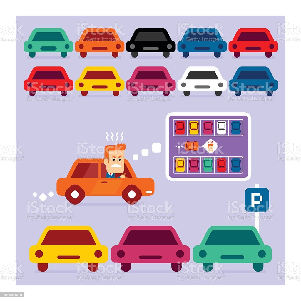 Parking Lot is Full vector art illustration