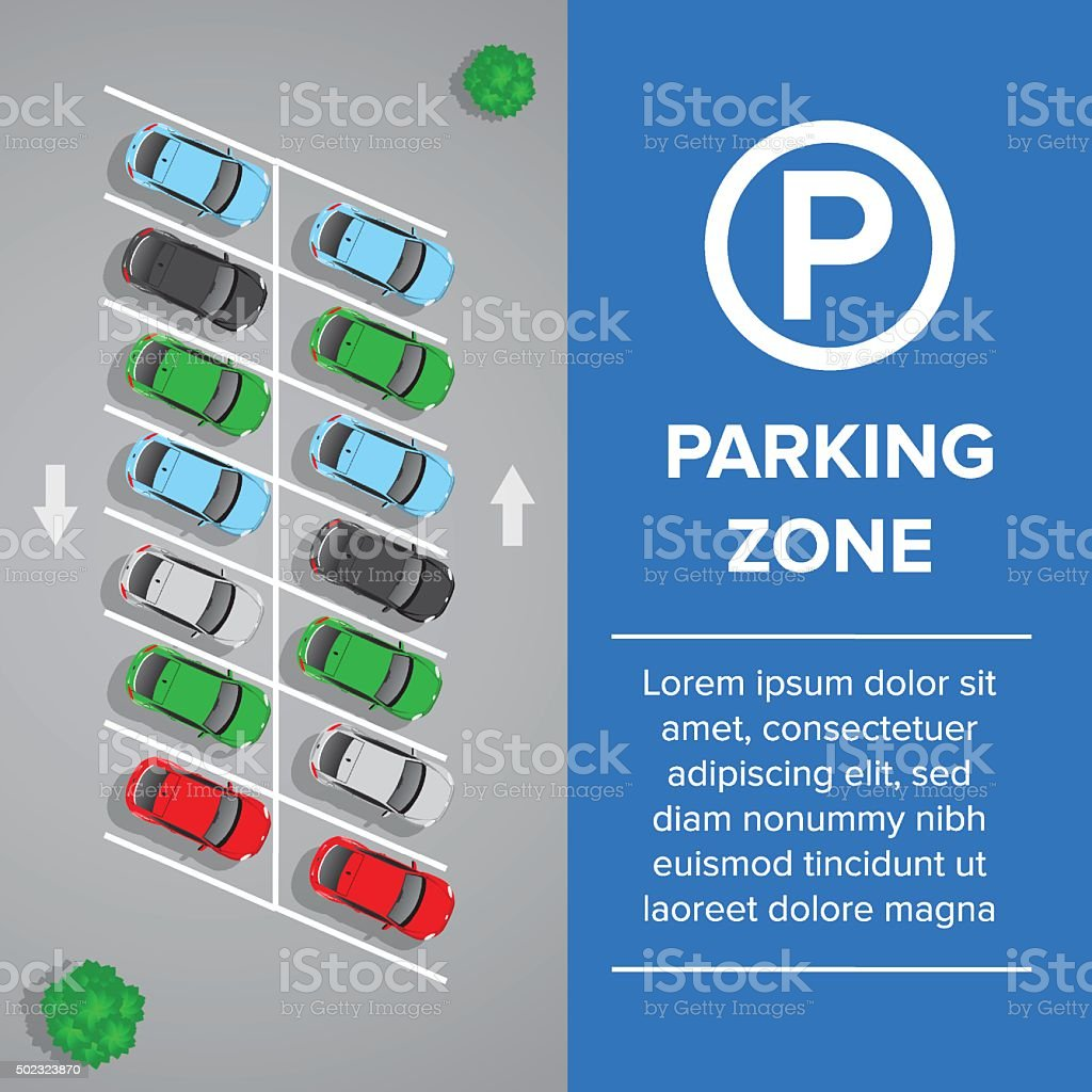 Parking lot, parking sign illustration. Car and transportation, auto park. vector art illustration