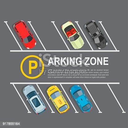 Parking lot top view. Area, divided into individual spaces for parking motor vehicles, car park zone. Vector flat style cartoon illustration isolated on grey background