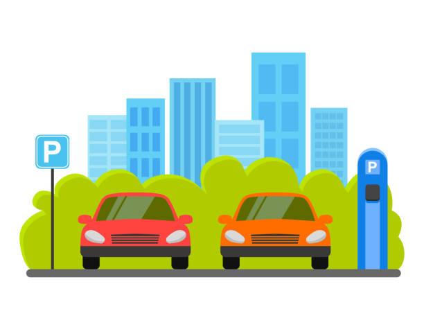 stockillustraties, clipart, cartoons en iconen met parking lot vectorillustratie geïsoleerd op een witte achtergrond, platte parkeerplaats teken in de buurt van de auto geparkeerd - parking