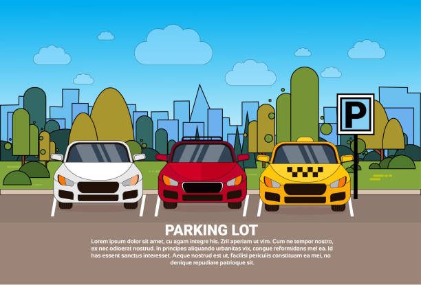 Best Row Of Parked Cars Illustrations, Royalty-Free Vector