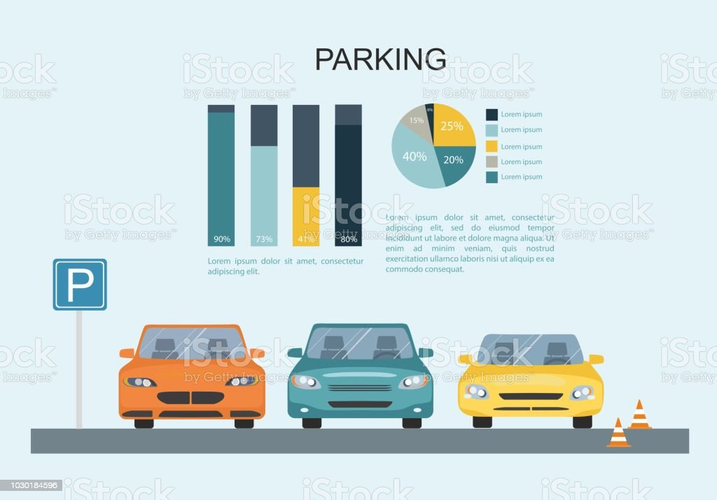 parking lot with a set of different cars transporation infographic