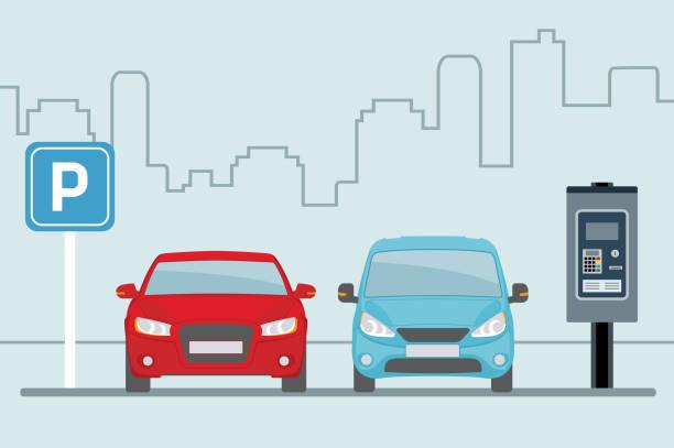 illustrations, cliparts, dessins animés et icônes de stationnement avec deux voitures et terminal de paiement sur fond bleu clair. - gare