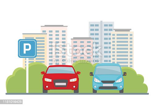 istock Parking lot with two cars on city background. 1151016425