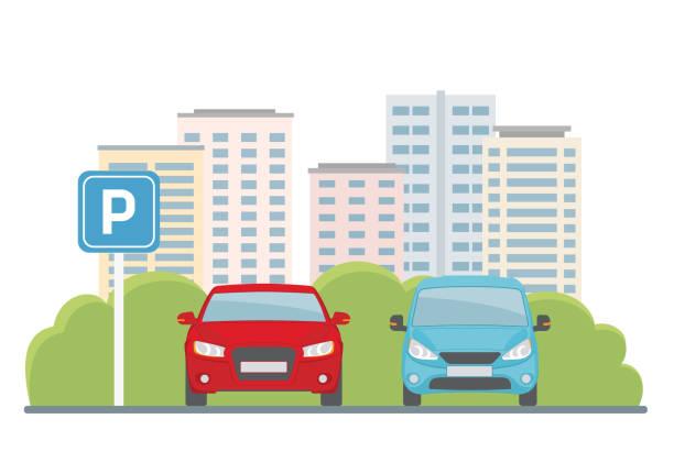 illustrations, cliparts, dessins animés et icônes de parking avec deux voitures sur le fond de la ville. - gare