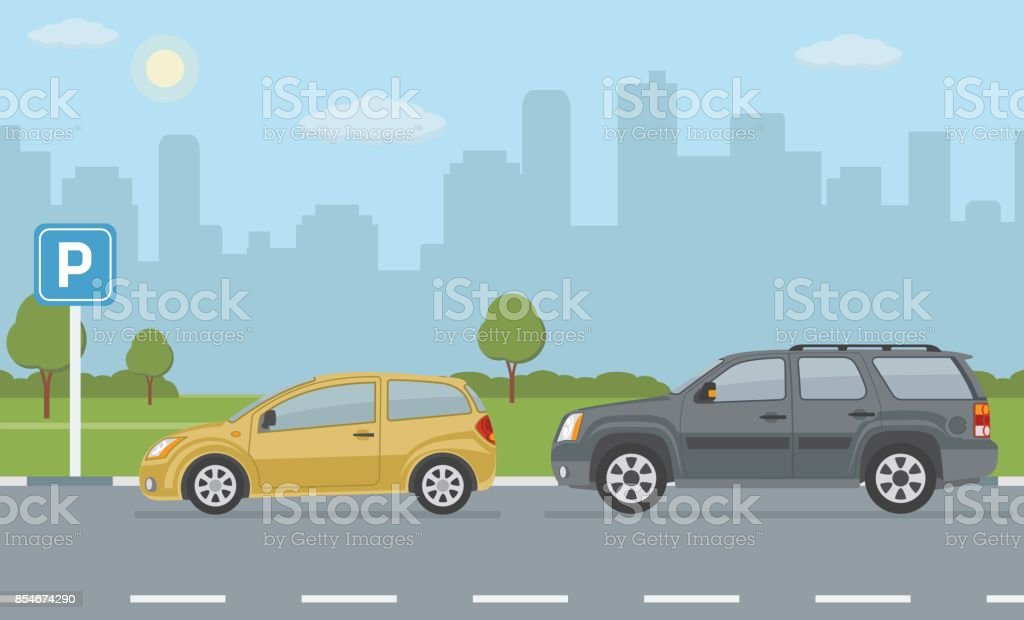 Parking lot with two cars on city background. vector art illustration