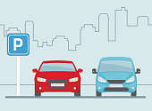 Parking lot with two cars on light blue background. Flat style, vector illustration.