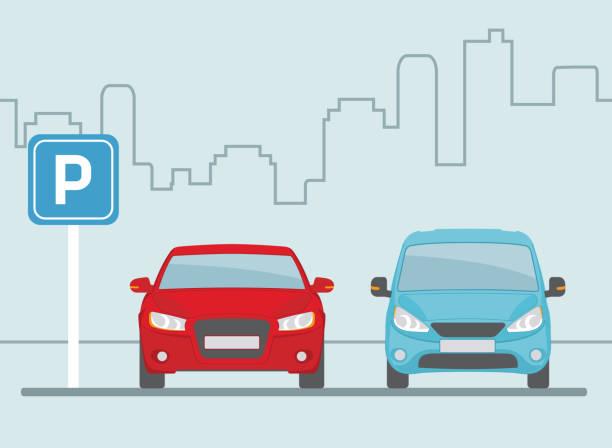 stockillustraties, clipart, cartoons en iconen met parkeerplaats met twee auto's op lichte blauwe achtergrond. - parking