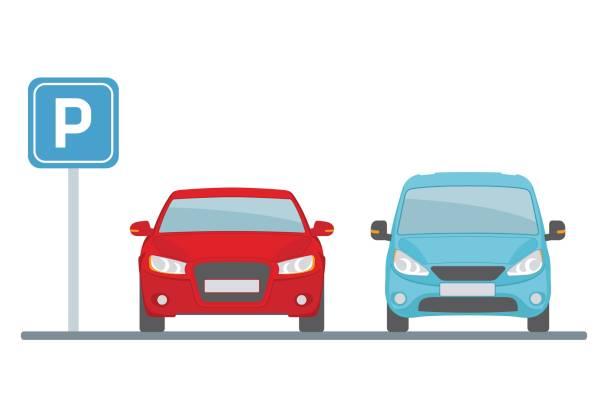 illustrations, cliparts, dessins animés et icônes de sort de stationnement avec deux voitures sur fond blanc. - gare