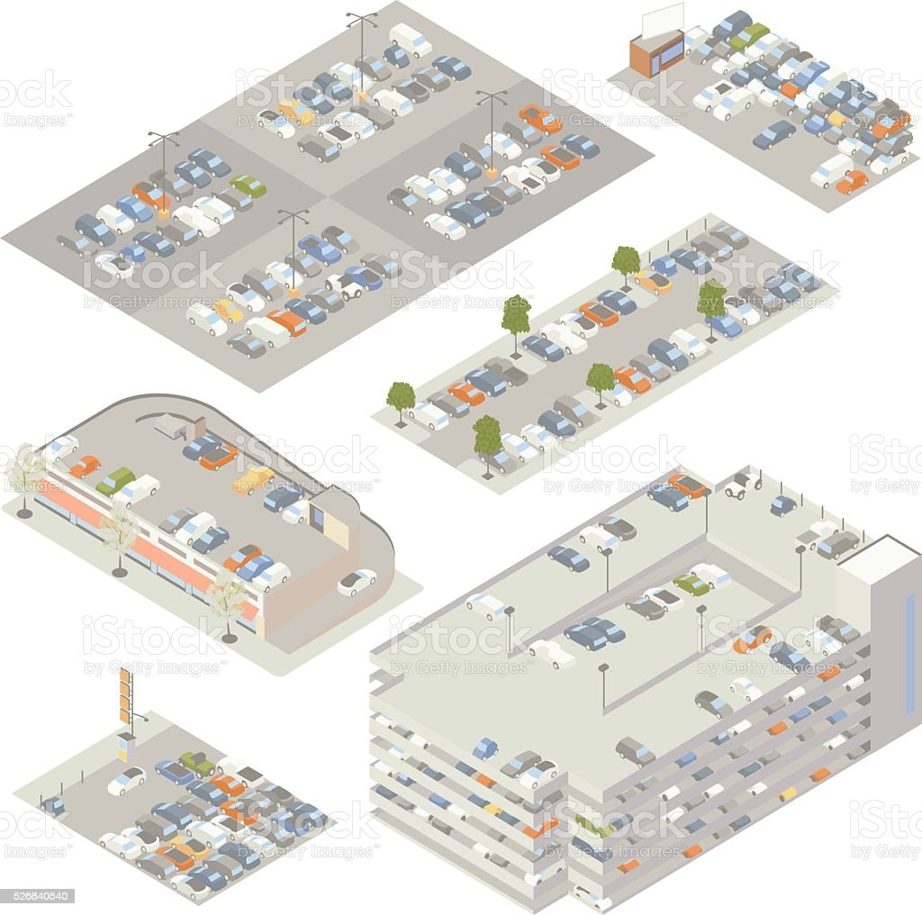 Parking Lots Illustration royalty-free parking lots illustration stock illustration - download image now