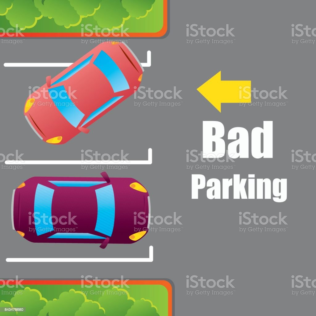 Parking or park zone design vector art illustration