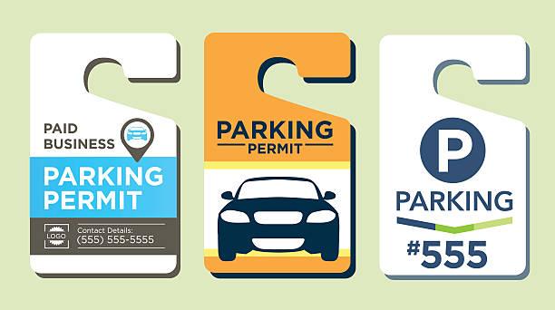 stockillustraties, clipart, cartoons en iconen met parking passes - parking
