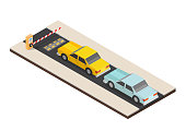 Parking payment isometric station with speed dump vector illustration