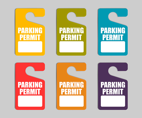 Parking permit hang tag, color vector set. Hanging car pass with copy space