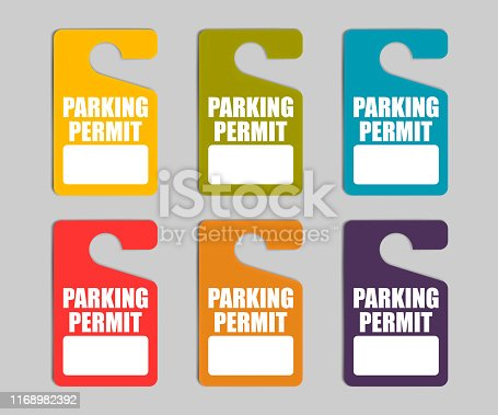Parking permit hang tag, color vector set. Hanging pass sign for car.