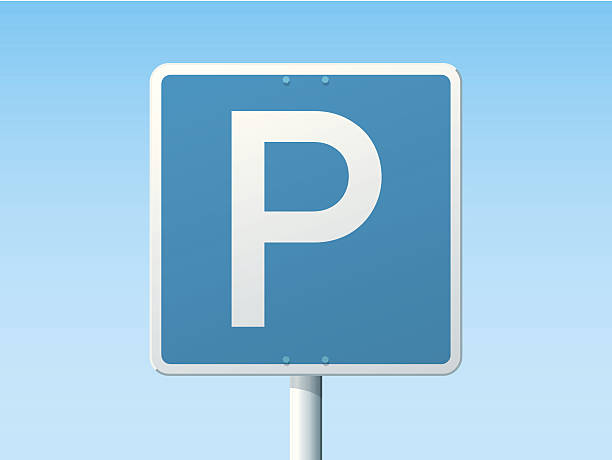 Parking Place German Road Sign Vector Illustration of a german Road Sign in front of a clear blue sky: Parking Place. All objects are on separate layers. The colors in the .eps-file are ready for print (CMYK). Transparencies used. Included files: EPS (v10) and Hi-Res JPG. transportation stock illustrations