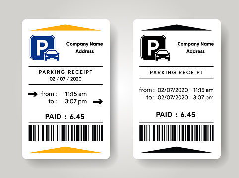 Parking receipt template. Check from parking meter mock up. Price for car stay. Entrance and exit ticket from vehicle stand.