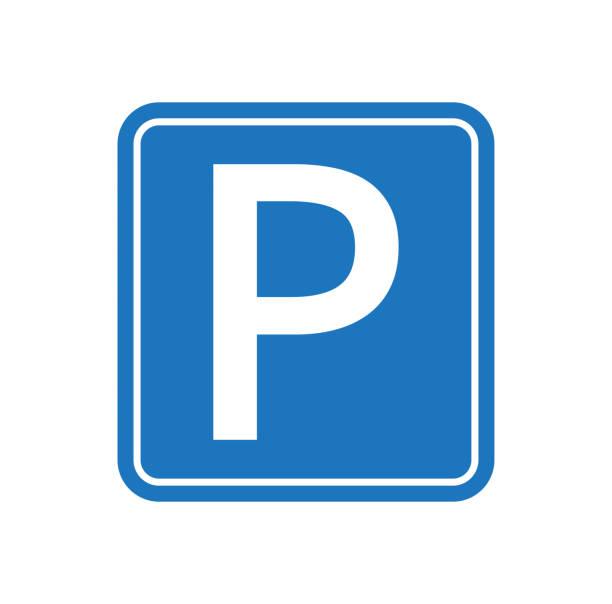 stockillustraties, clipart, cartoons en iconen met parking verkeersbord. parkeerplaats voor auto. vector illustratie. - parking