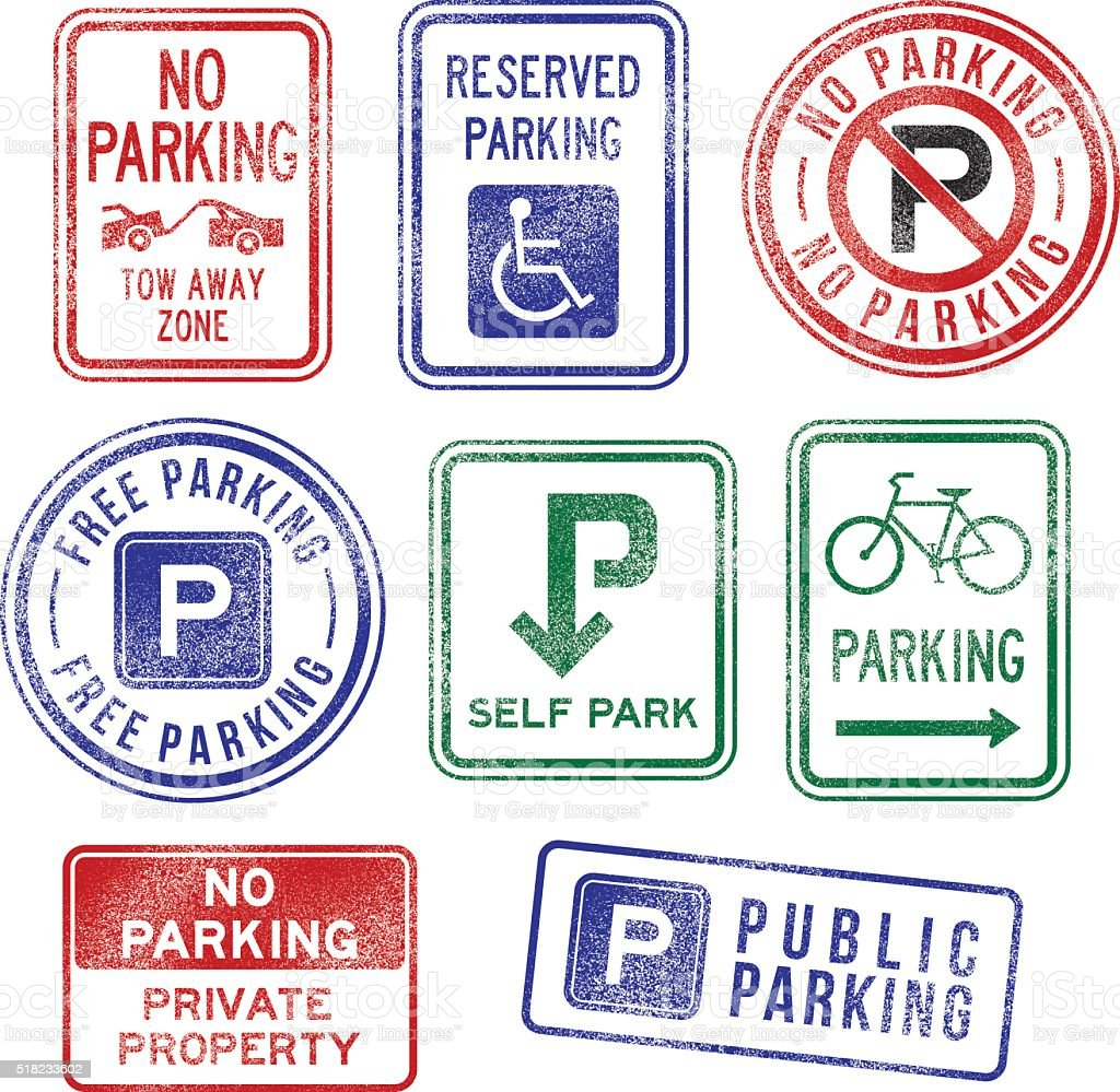 Parking Signs Rubber Stamps vector art illustration