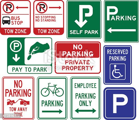 Parking signs.