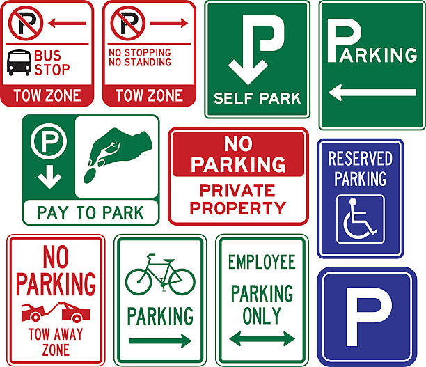 stockillustraties, clipart, cartoons en iconen met parking signs - bushalte