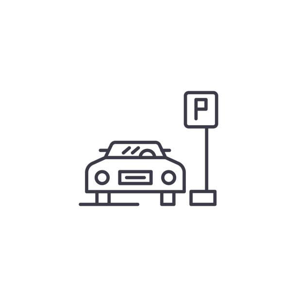 停車空間線性圖示概念。停車空間線向量符號, 符號, 插圖。向量藝術插圖